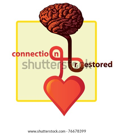 connection between heart and brain restored - illustration - stock vector