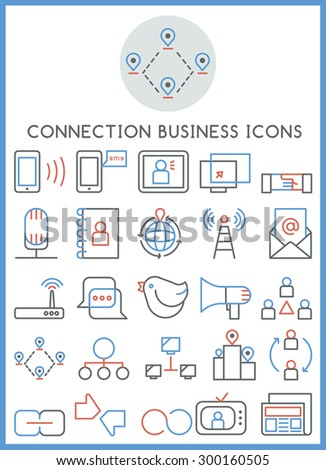 Connection business icons set vector - stock vector