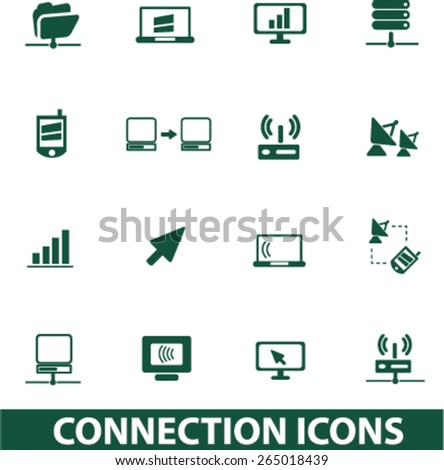 connection, communication icons, signs, illustrations set, vector - stock vector