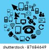 connection & communication icons, signs, vector illustrations set - stock vector
