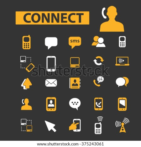 connection, communication, link, internet, online, phone, computer network, hosting, system administration, router, laptop, tower, antenna, equipment, lan, broadcasting, technology icons, signs vector - stock vector