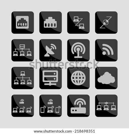 connection communication network icon set