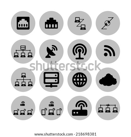 connection communication network icon set - stock vector