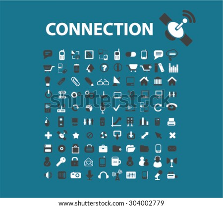 connection, communication, technology flat isolated icons, signs, illustrations set, vector for web, application - stock vector