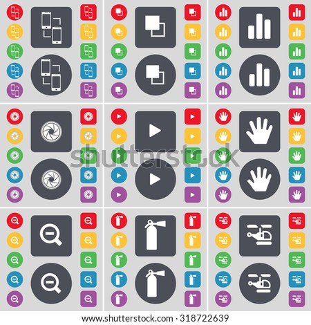 Connection, Copy, Diagram, Lens, Media play, Hand, Magnifying glass, Fire extinguisher, Helicopter icon symbol. A large set of flat, colored buttons for your design. Vector illustration - stock vector