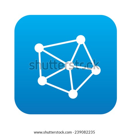 Connection icon on blue button,clean vector - stock vector