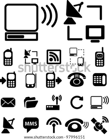 connection icons set, vector