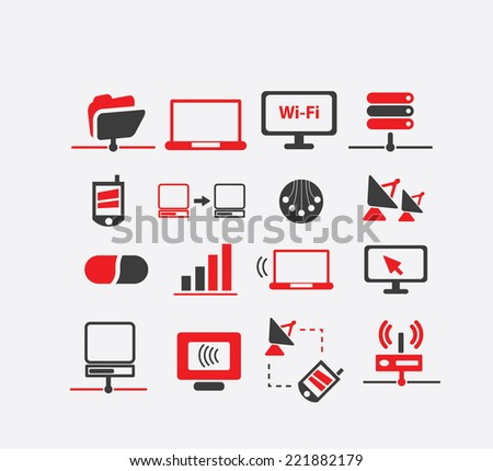 connection icons, signs, illustrations, silhouettes set, vector