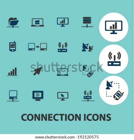 connection icons, signs set, vector - stock vector