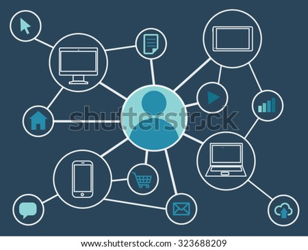 Connection internet illustration with blue icons symbols and dark blue background - stock vector