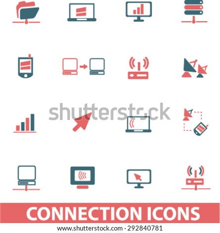connection isolated vector icons - stock vector