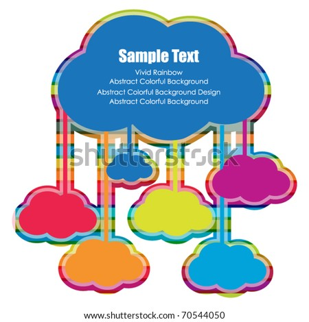 connection of colorful clouds - stock vector