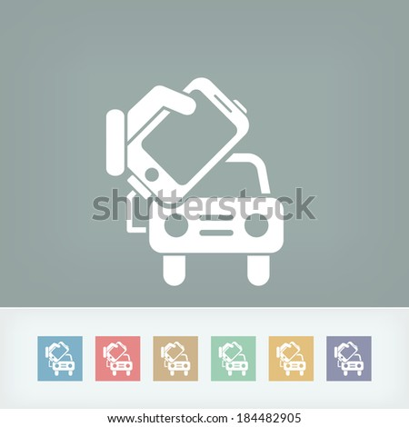 Connection of smartphone to car - stock vector