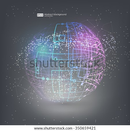 Connection structure molecules circle and blank space for your content. Point and curve constructed the sphere wireframe, technological sense. Abstract background with connecting dots and lines.