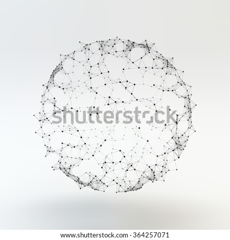 Connection Structure. Wireframe Vector Illustration. - stock vector