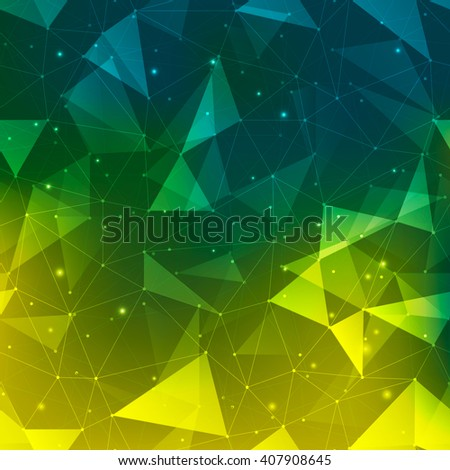 Connections background, abstract background with many dots connected with lines, outlined and filled in transparent triangles with mesh gradient