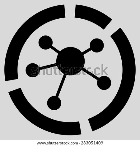 Connections diagram icon from Business Bicolor Set. Vector style: flat symbol, black color, rounded angles, light gray background. - stock vector