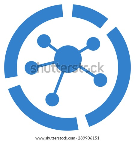 Connections diagram icon from Business Bicolor Set. Vector style: flat symbol, cobalt color, rounded angles, white background. - stock vector
