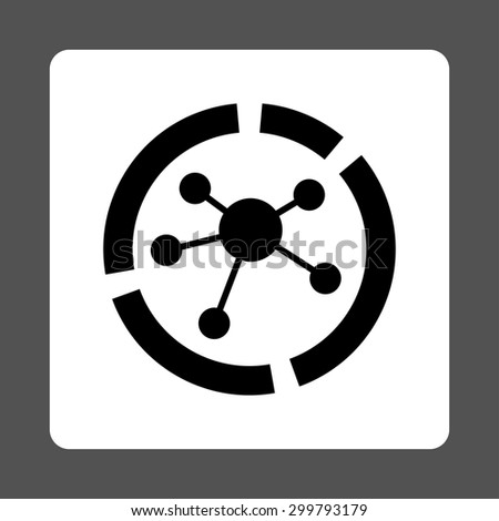 Connections diagram icon. Vector style is black and white colors, flat rounded square button on a gray background. - stock vector