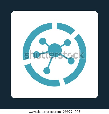 Connections diagram icon. Vector style is blue and white colors, flat rounded square button on a dark blue background. - stock vector