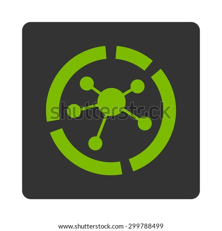 Connections diagram icon. Vector style is eco green and gray colors, flat rounded square button on a white background. - stock vector
