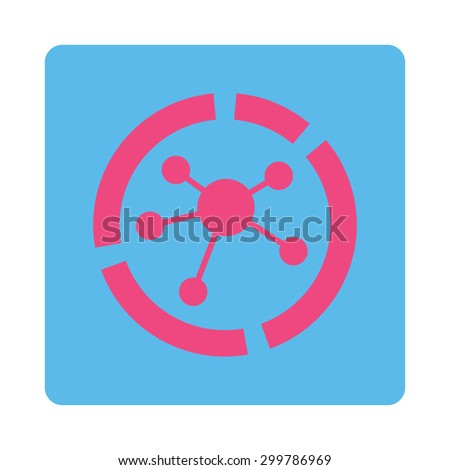 Connections diagram icon. Vector style is pink and blue colors, flat rounded square button on a white background. - stock vector