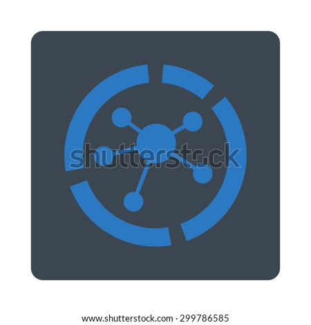 Connections diagram icon. Vector style is smooth blue colors, flat rounded square button on a white background. - stock vector