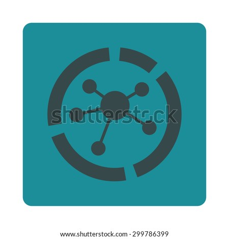 Connections diagram icon. Vector style is soft blue colors, flat rounded square button on a white background. - stock vector