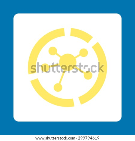 Connections diagram icon. Vector style is yellow and white colors, flat rounded square button on a blue background. - stock vector