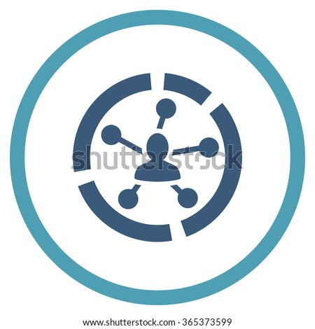 Connections Diagram vector icon. Style is bicolor flat circled symbol, cyan and blue colors, rounded angles, white background. - stock vector