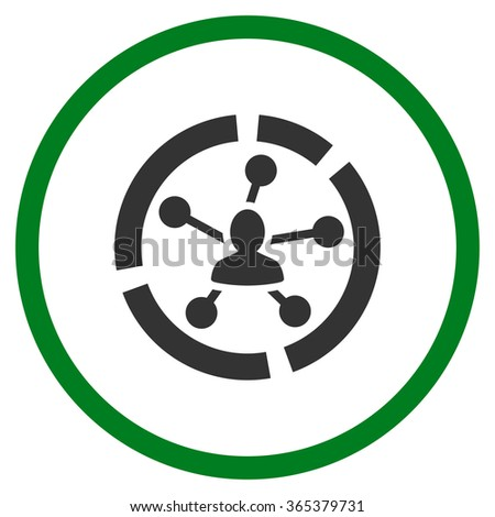 Connections Diagram vector icon. Style is bicolor flat circled symbol, green and gray colors, rounded angles, white background. - stock vector