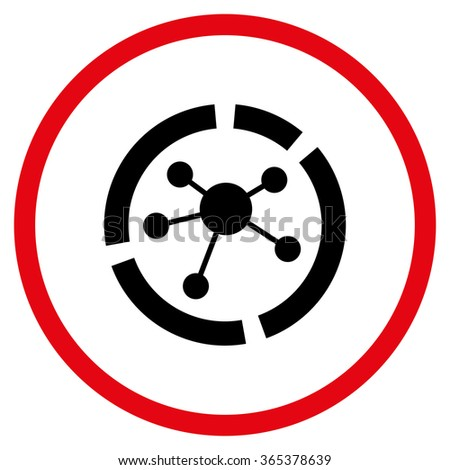 Connections Diagram vector icon. Style is bicolor flat circled symbol, intensive red and black colors, rounded angles, white background. - stock vector