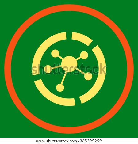 Connections Diagram vector icon. Style is bicolor flat circled symbol, orange and yellow colors, rounded angles, green background. - stock vector