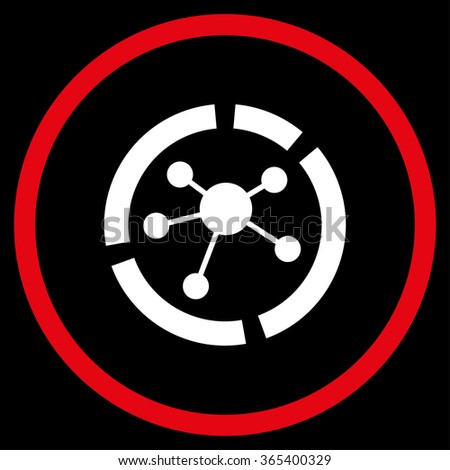 Connections Diagram vector icon. Style is bicolor flat circled symbol, red and white colors, rounded angles, black background. - stock vector