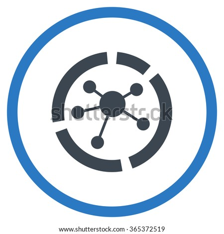 Connections Diagram vector icon. Style is bicolor flat circled symbol, smooth blue colors, rounded angles, white background. - stock vector