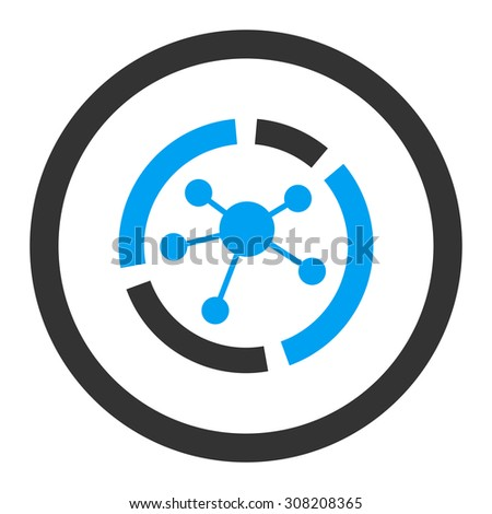 Connections diagram vector icon. This rounded flat symbol is drawn with blue and gray colors on a white background. - stock vector