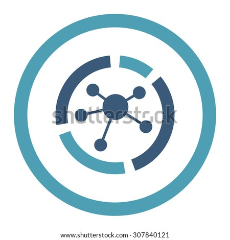 Connections diagram vector icon. This rounded flat symbol is drawn with cyan and blue colors on a white background. - stock vector