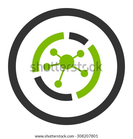 Connections diagram vector icon. This rounded flat symbol is drawn with eco green and gray colors on a white background. - stock vector