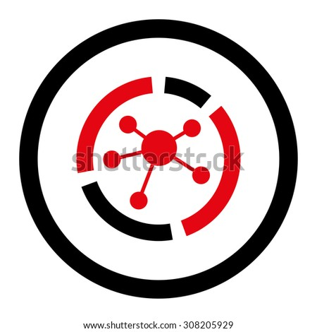 Connections diagram vector icon. This rounded flat symbol is drawn with intensive red and black colors on a white background. - stock vector