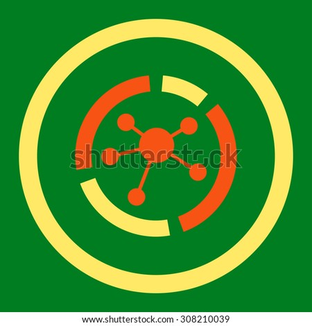 Connections diagram vector icon. This rounded flat symbol is drawn with orange and yellow colors on a green background. - stock vector