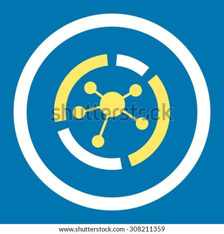 Connections diagram vector icon. This rounded flat symbol is drawn with yellow and white colors on a blue background. - stock vector