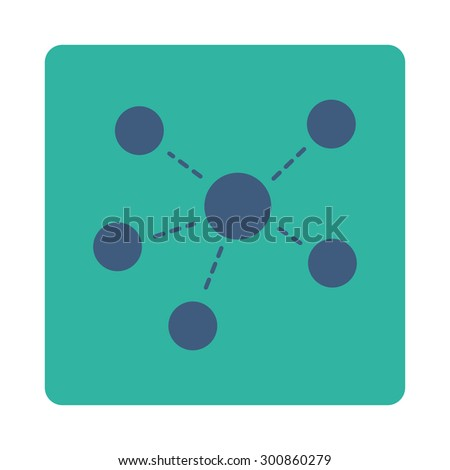 Connections icon. Vector style is cobalt and cyan colors, flat rounded square button on a white background. - stock vector