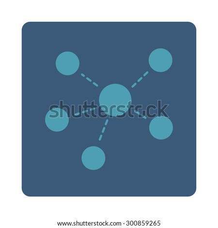 Connections icon. Vector style is cyan and blue colors, flat rounded square button on a white background. - stock vector
