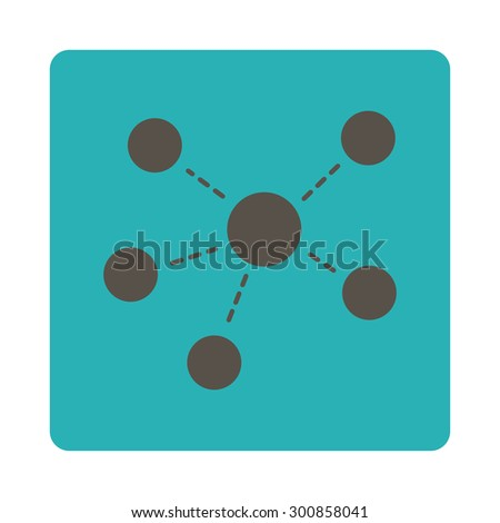 Connections icon. Vector style is grey and cyan colors, flat rounded square button on a white background. - stock vector