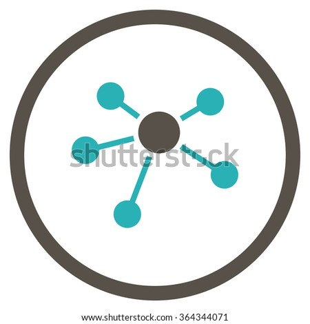 Connections vector icon. Style is bicolor flat circled symbol, grey and cyan colors, rounded angles, white background. - stock vector