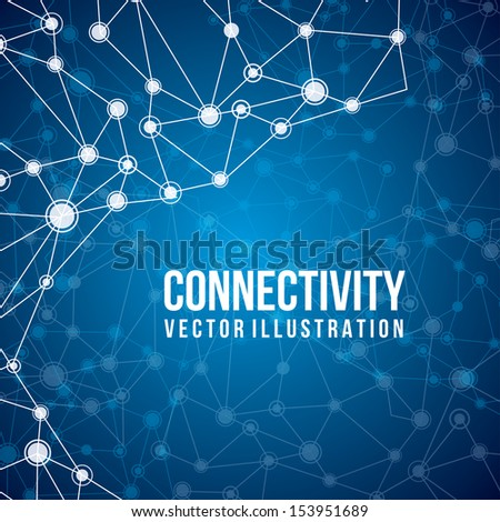 connectivity design over blue  background vector illustration  - stock vector