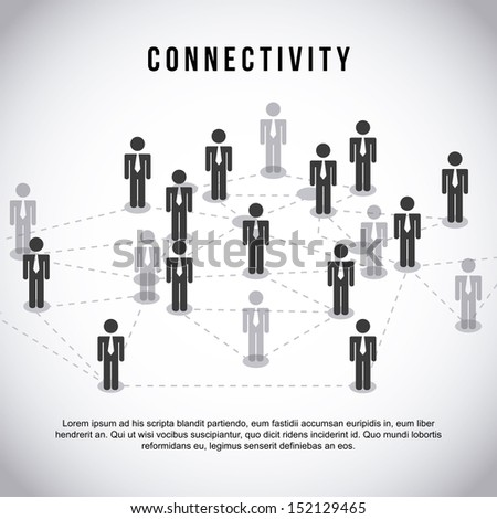 connectivity design  over gray background vector illustration - stock vector
