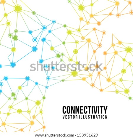 connectivity design over white  background vector illustration  - stock vector
