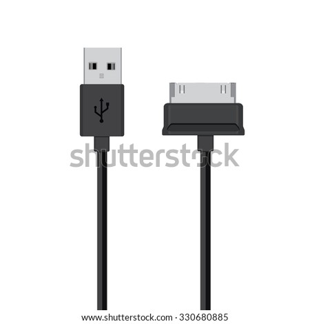 Connectors and sockets for PC and mobile devices vector illustration. Black cords, cable - stock vector