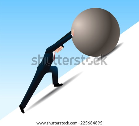 Conquering Adversity businessman pushing a rock uphill - stock vector